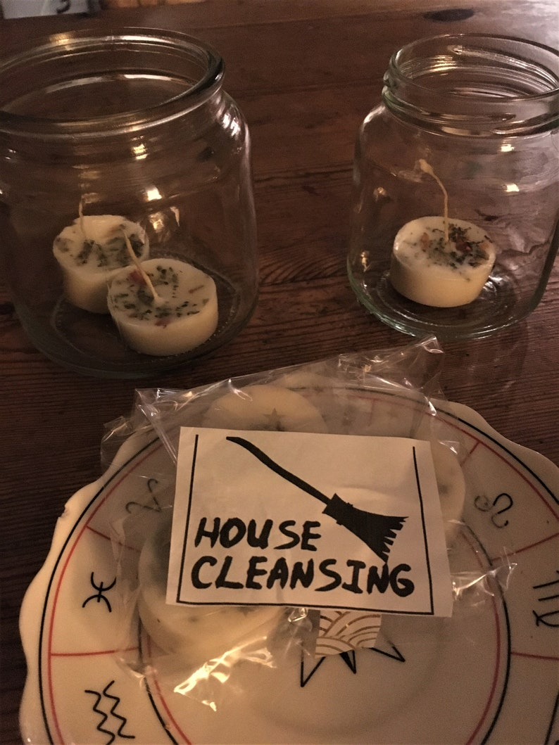 comes with bindrune. house cleaning candle magic White Candle