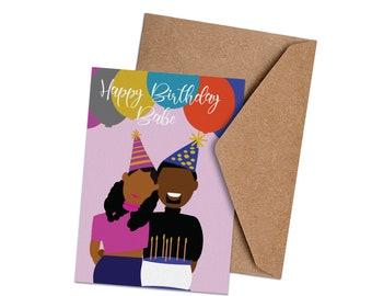 "Black Love Greeting Card - ""Happy Birthday Babe"""