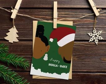Happy Holla-Dayz - African American Holiday Card