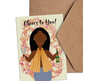 Congrats, girl!   - African American Card - Cheers to You