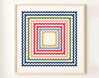 Ric Rac Rainbow 40x40cm Wall Art Print, Giclée, Interior Decor