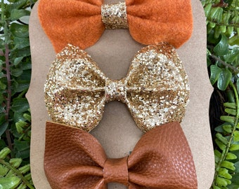 Terracotta /& Tan Glitz Bows-Felt Bows-Toddler Bows-Back To School-Baby Girl-Baby Girl Bows-Clip In Bow-Faux Leather Bows
