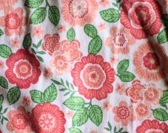 Coral Floral Flannel Fabric- Cut by yard