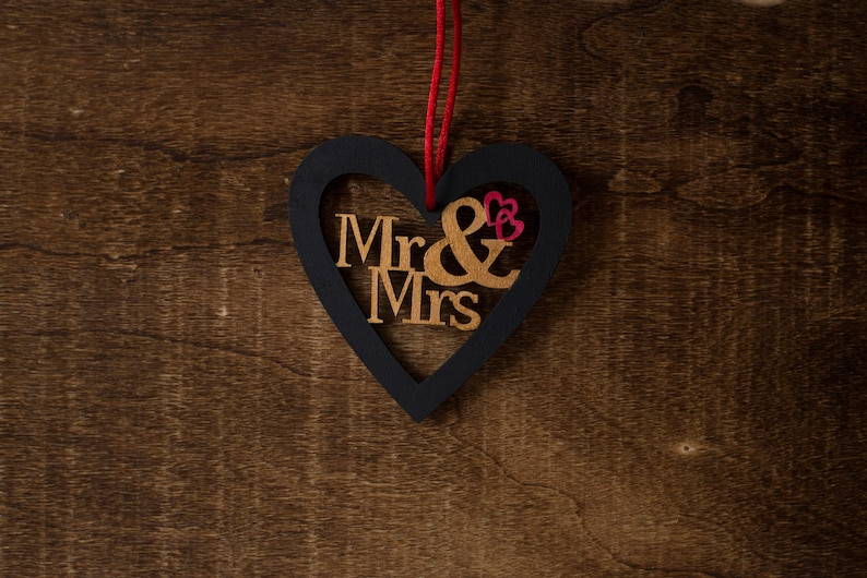 Hand-painted Mr Heart Ornament and Mrs