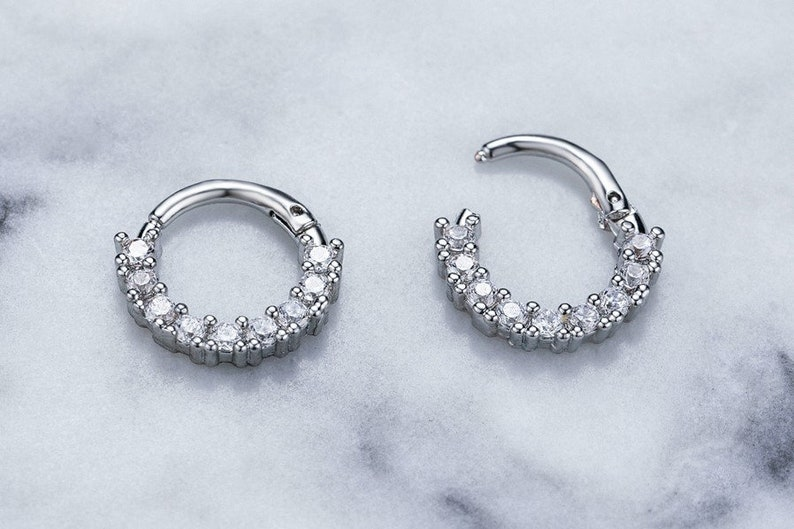 18ga Sterling Silver Clicker paved clear CZ hoop Cartilage Tragus Helix Studs second hole piercing