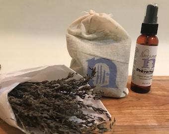 Posy Combo: Dried Lavender Posy, Lavender Hydrosol & Lavender Sachet