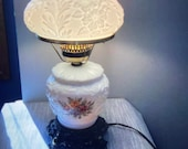 Vintage Fenton white puffy Rose poppy Milk glass 3-way light table lamp with flowers and turnkey and brass feet. Works great