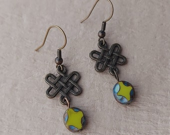 Bronze Celtic Love Knot Earrings - Lime Green Bead / Handmade / Ready to Ship / Gift Box Add-on