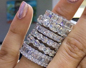 Eternity Ring Band -Full eternity ring Wedding band engagement Wide Diamond Cz ring-Statement Baguette ring sparkling - Cubic Zirconia Ring
