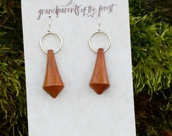 Asymmetric Hand Carved Wooden Earrings
