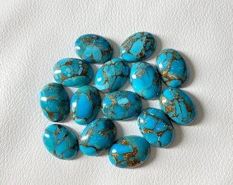 29x20x7.5mm Blue Turquoise Cabochon Mohave Copper Blue Copper Turquoise Oval Shape Flat Back Cabochon