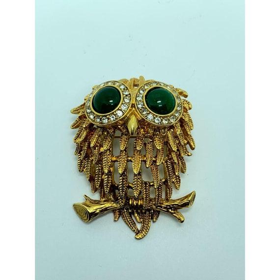 Liz Claiborne Vintage Bejeweled Owl Brooch