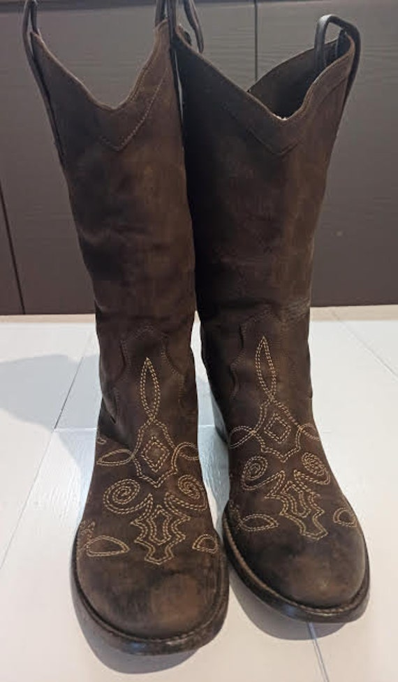 Camperos boots, leather, embroidered, size 40 (eu)