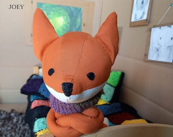 Joey, fox, boy, toy, cuddly toy, plush toy, made to order, birth, gift, artist doll, one of a kind, rag doll