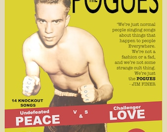 """Pogues Peace and Love """"Promo Poster"""" boxing style Shane Macgowenc"""