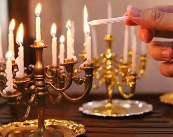Dollhouse Miniature 1:12 Gold Single Candlestick Mini Candle Holders Toys Pip KV