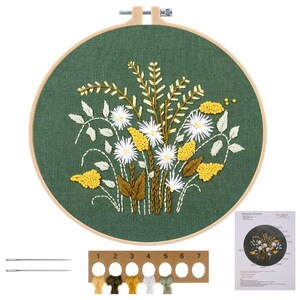 Flowers Yellow and Green Embroidery Starter Kit DIY Handmade Craft Set for Beginners