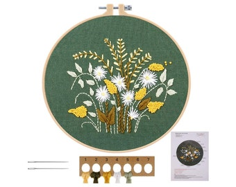 Flowers Yellow and Green Embroidery Starter Kit - DIY Handmade Craft Set for Beginners