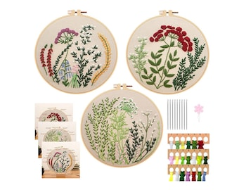 3x Flowers colorful Embroidery Kit, DIY kit