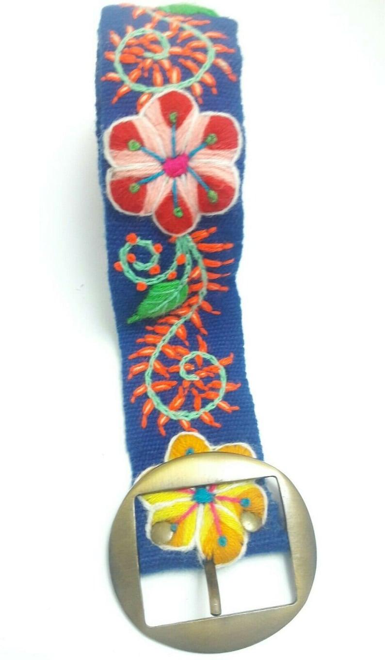 Peruvian Embroidered Flowers Belt