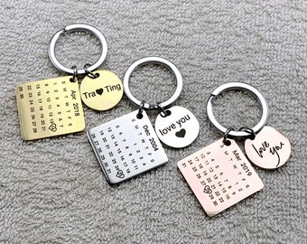 Details about  /Stainless Steel Personalized Calendar Keychain Christmas Bell Keyring DMF
