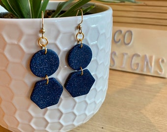 Polymer Clay Statement Jewelry Royal Blue Textured Dangles Handmade Dangle Earrings