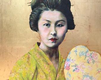 Art Print Entcounter, Geisha, reproduction original painting, paper, passepartout