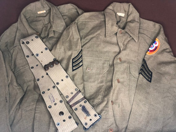 2 Vintage WW2 Era 1940s Military Shirts with belt