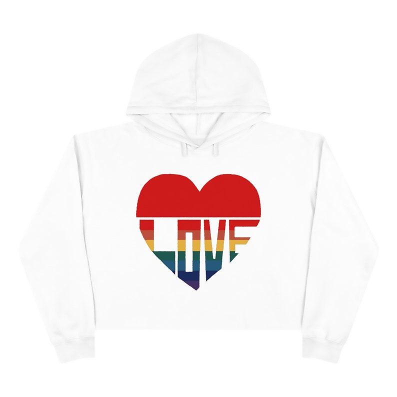 Love Heart Crop Hoodie David Rose  Crop Hoodie from David Rose  Hoodie Crop Sweatshirt for her