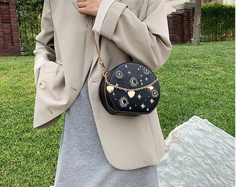 Cute Astro round crossbody Bag for Women Black, Blue and White Chain Clutch Bag Gift for Her Birthday Stars moon and Sun 2021