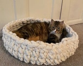 Cat Bed - Handmade CHUNKY KNIT Pet Bed, super soft chenille