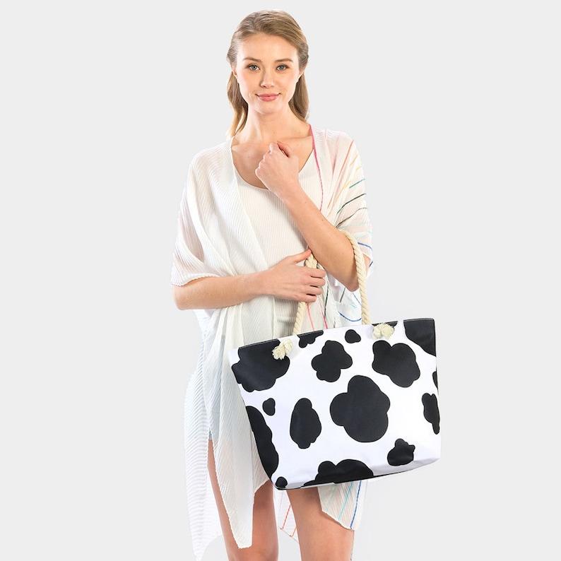 Cow Print Beach Tote Bag Summer Cruise
