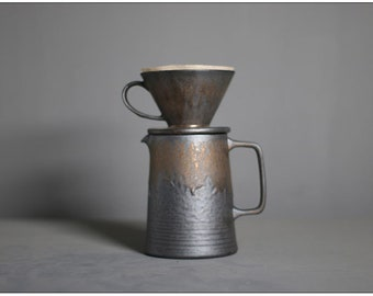 Ceramic Pour Over Coffee Set,Coffee Dripper,Stone Glaze Coffee Pour Over,Ceramic Coffee Maker,Coffee Filter Brewer,Unique Pottery Gift Ideas
