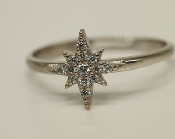 14K Gold Diamond Solitaire Ring  North Star Ring  Astrology Ring  Diamond Star Ring  graduation gift  mothers day gift