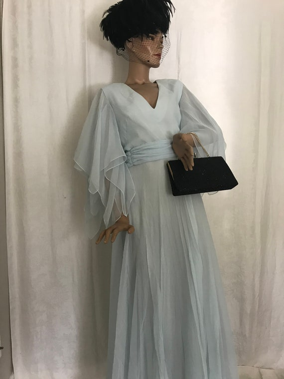 Vintage 1970's Powder Blue Chiffon Maxi-Dress
