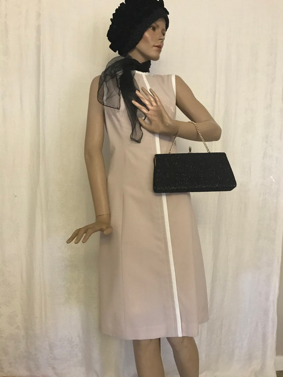 Vintage 1960's Linen Look Sleeveless Drees 2pc Sui