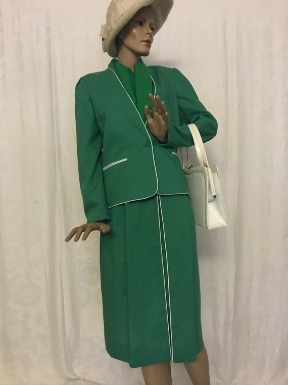 Vintage 1970's Green 2pc Power Suit