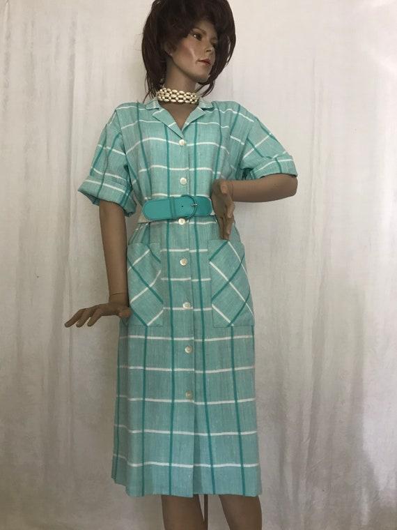 Vintage 1980's Shirt Waist Chemise Dress