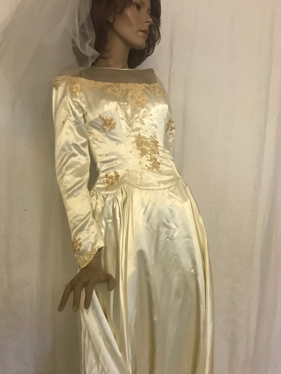 Vintage 1950's Satin Wedding Dress with Train