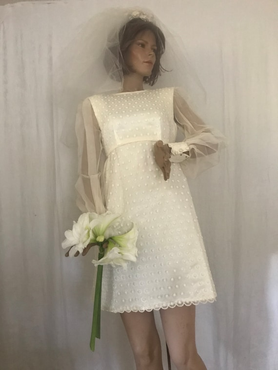 1960's Semi-Empire Mod Wedding Dress