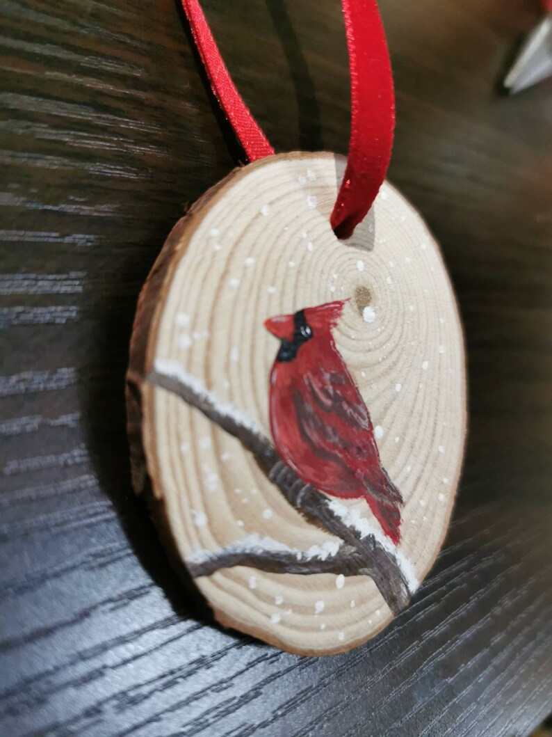 Hand painted Cardinal ornament on natural wood