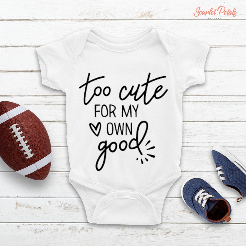 Personalized Baby Jumpsuit Baby Shower Gift Too Cute For My Own Good Baby Outfit Customize Baby Romper Baby Girl Clothes