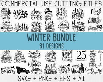 Winter SVG Bundle, Christmas Svg, Winter svg, Santa svg, Christmas Quote svg, Funny Quotes Svg, Snowman SVG, Holiday SVG, Winter Quote Svg