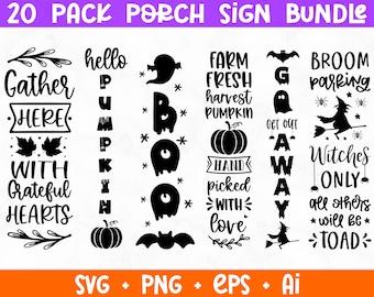 Fall Porch Sign SVG Bundle, Halloween Porch Sign Svg, Halloween Vertical Sign svg, Welcome Signs SVG Bundle, Cut Files for Cricut Silhouette