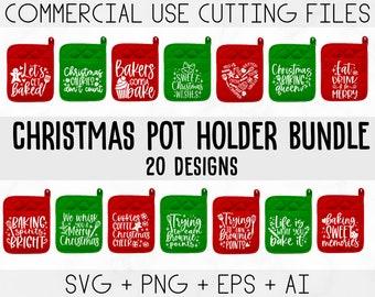 Christmas Pot Holder SVG Bundle, Potholder svg, Christmas svg, Oven Mitt SVG, Kitchen SVG, Baking Svg, Funny Kitchen Quotes, Cut File Cricut