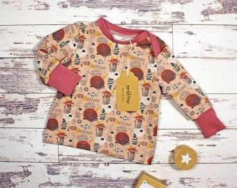 Baby shirt baby sweater long sleeve shirt BioJersey GOTS underwater world with hatch collar boy girl 50-56 62-68 74-80