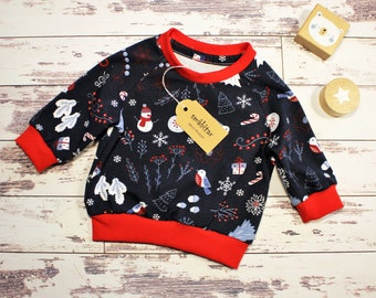 Babyshirt Sweater Long Sleeve Shirt Baby Sweater Christmas Boys Girls Size 50 to 92