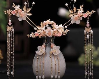 Hanfu Hairpins Hair Comb Earrings Kit Chinese Long Tassel Stick Headpiece Women Accessories Flower Crystal Pearl Pins Handmade Jewelry New