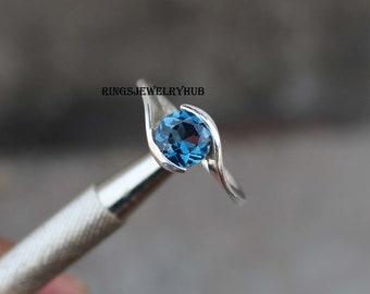 Simple Ring Genuine Gemstone Ring Silver Ring Dainty Ring Genuine Blue Topaz Pear Cut Halo Ring Birthstone Ring