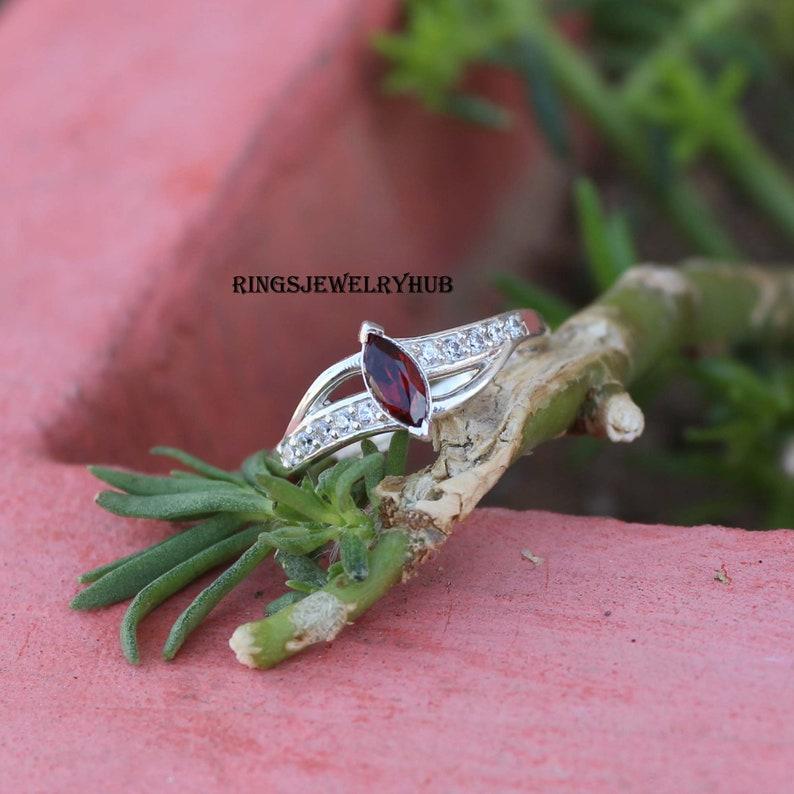Red Garnet Silver Ring Semi precious Stone Natural Gemstone November Birthstone Promise Ring 925 Starling Silver Ring